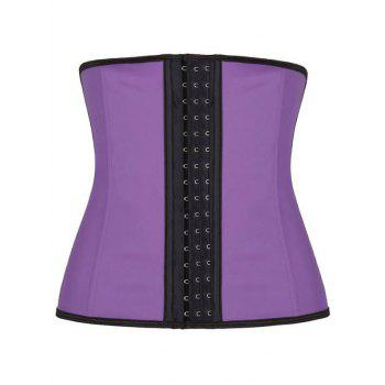 Faux Leather Piping Shapewear Plus Size Corset