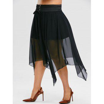 Plus Size Gothic Lace Up Mesh Overlay Handkerchief Skirt