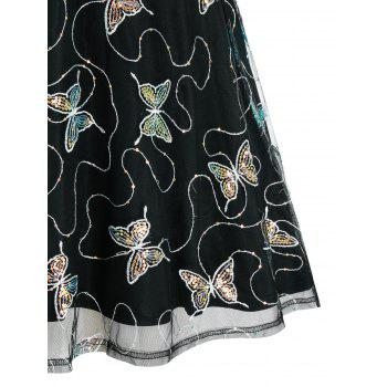 Plus Size Sequined Butterfly Mesh Plaid A Line Dress