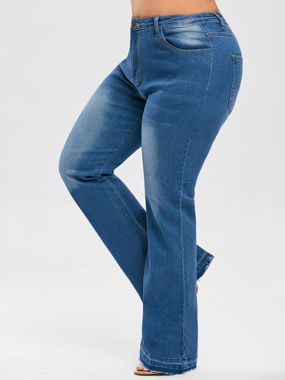 Frayed Hem High Waisted Plus Size Flare Jeans - BLUE 3XL