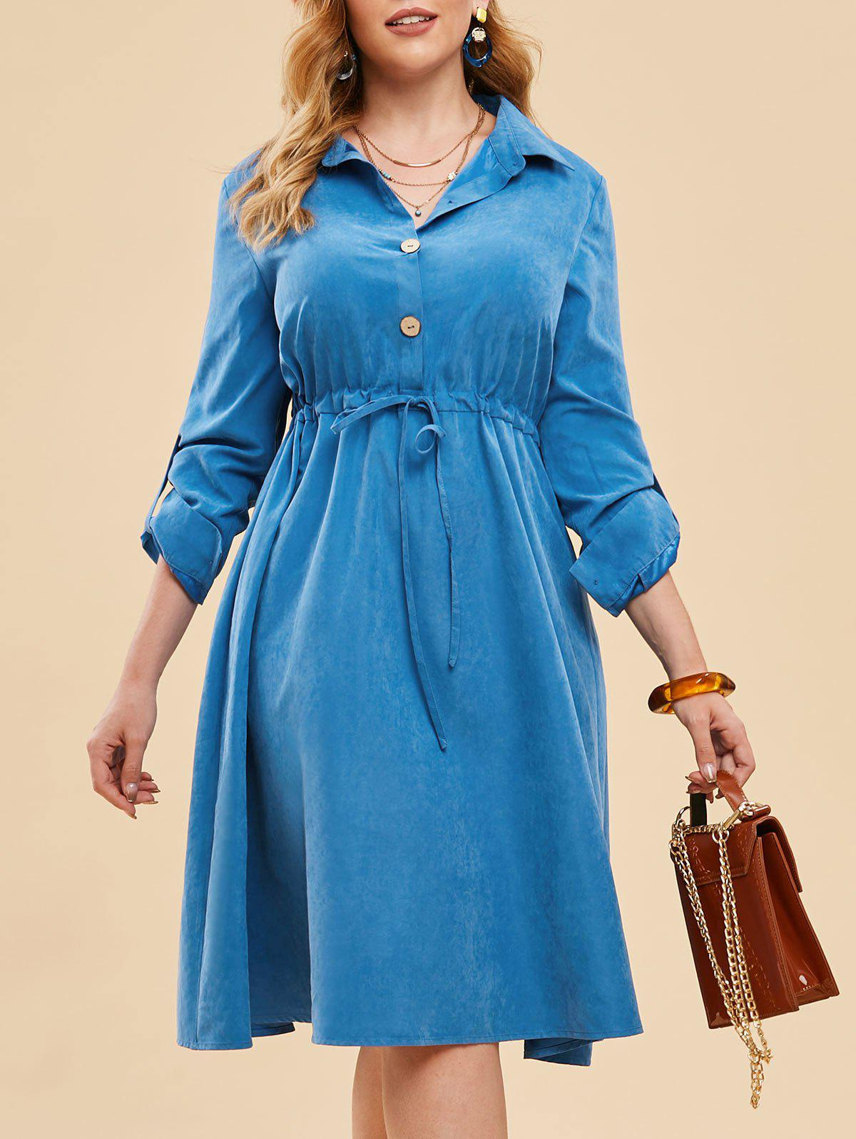 Plus Size Half Button Drawstring Roll Up Sleeve Dress - DENIM BLUE 2X
