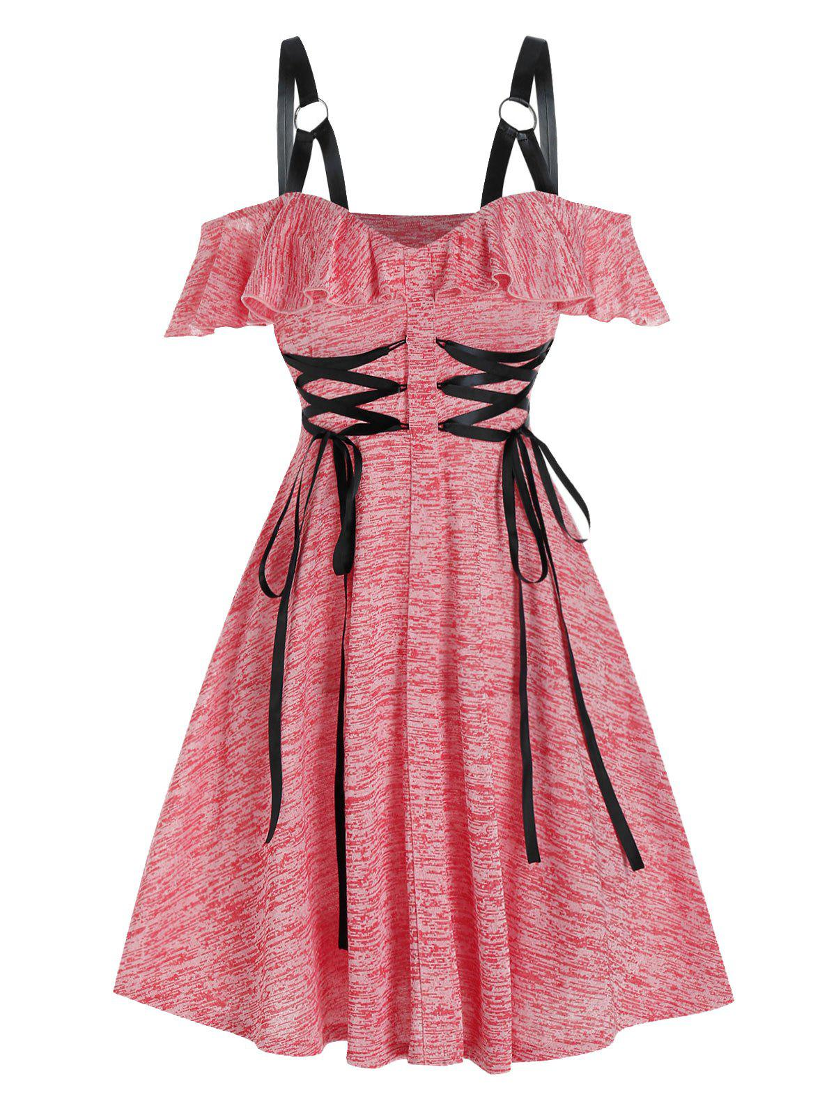Cold Shoulder Lace-up Harness Insert Heathered Dress - BEAN RED L