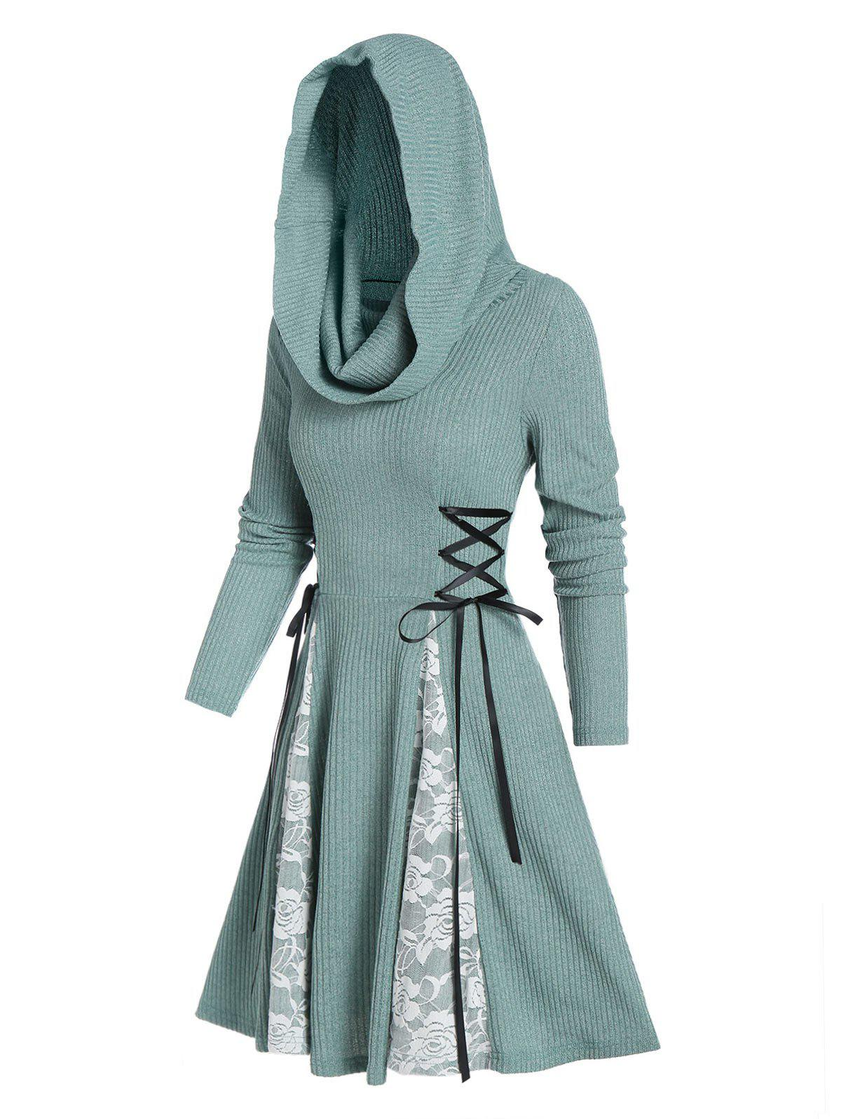 Hooded Lace-up Lace Panel Ribbed Dress - CYAN OPAQUE 2XL