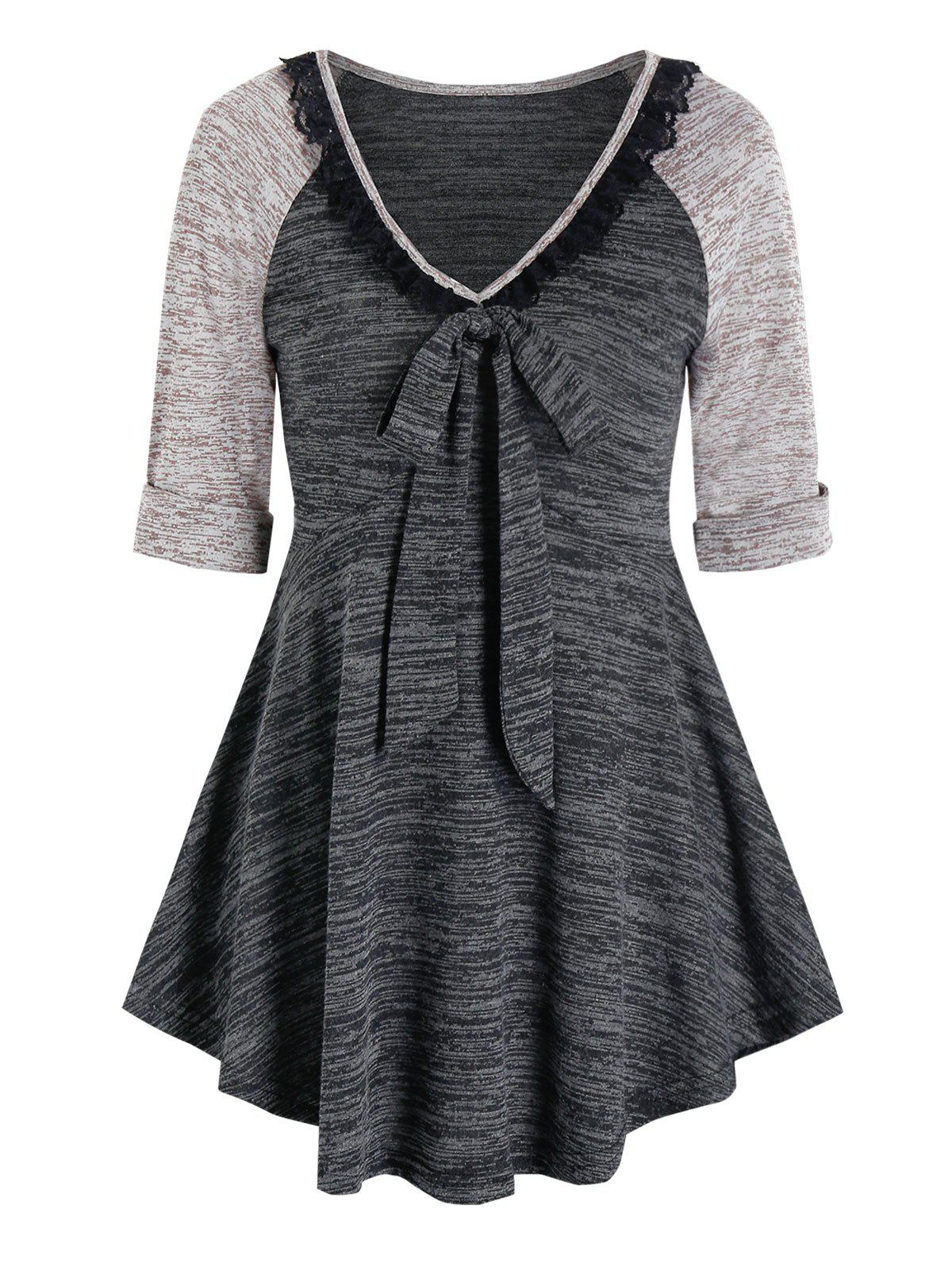 Contrast Space Dye Print Lace Insert Bowknot T-shirt - DARK SLATE GREY L