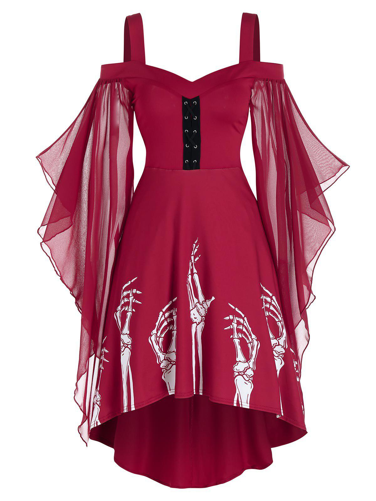 Skeleton Print Butterfly Sleeve High Low Dress - RED WINE 3XL