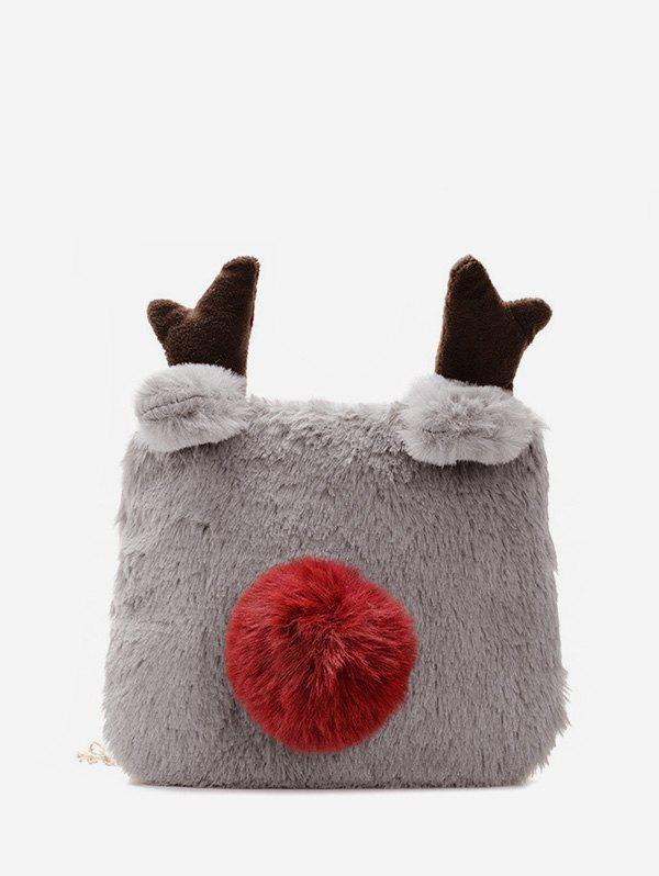 Winter Square Elk Plush Chain Crossbody Bag - DARK GRAY