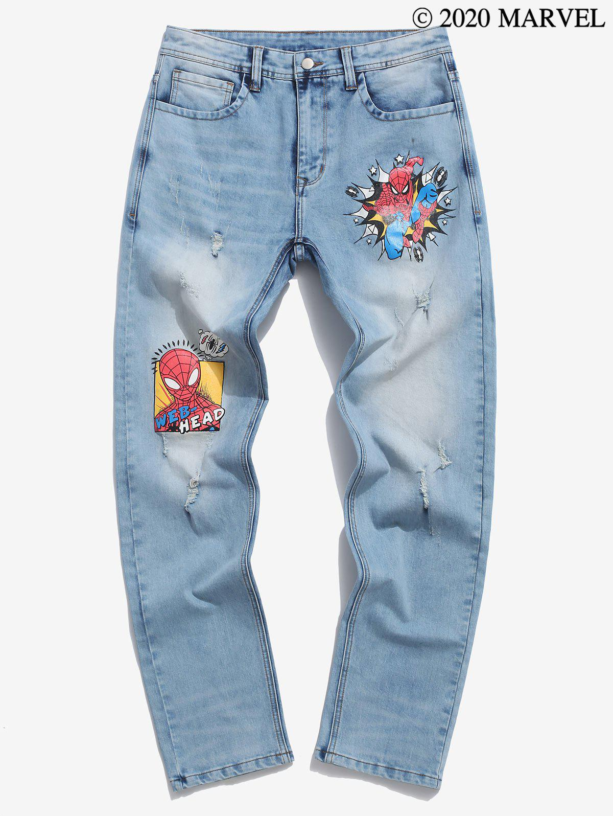 Marvel Spider-Man Web-Head Print Jeans - BLUE L