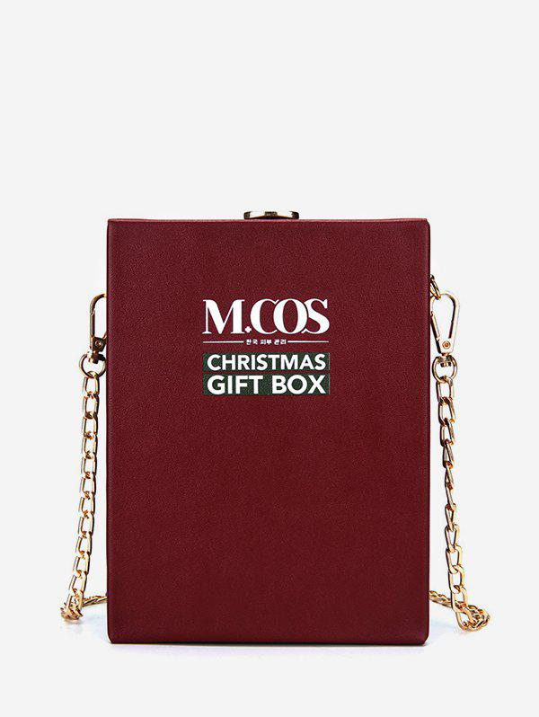 Christmas Letters Pattern Chain Box Bag - DEEP RED