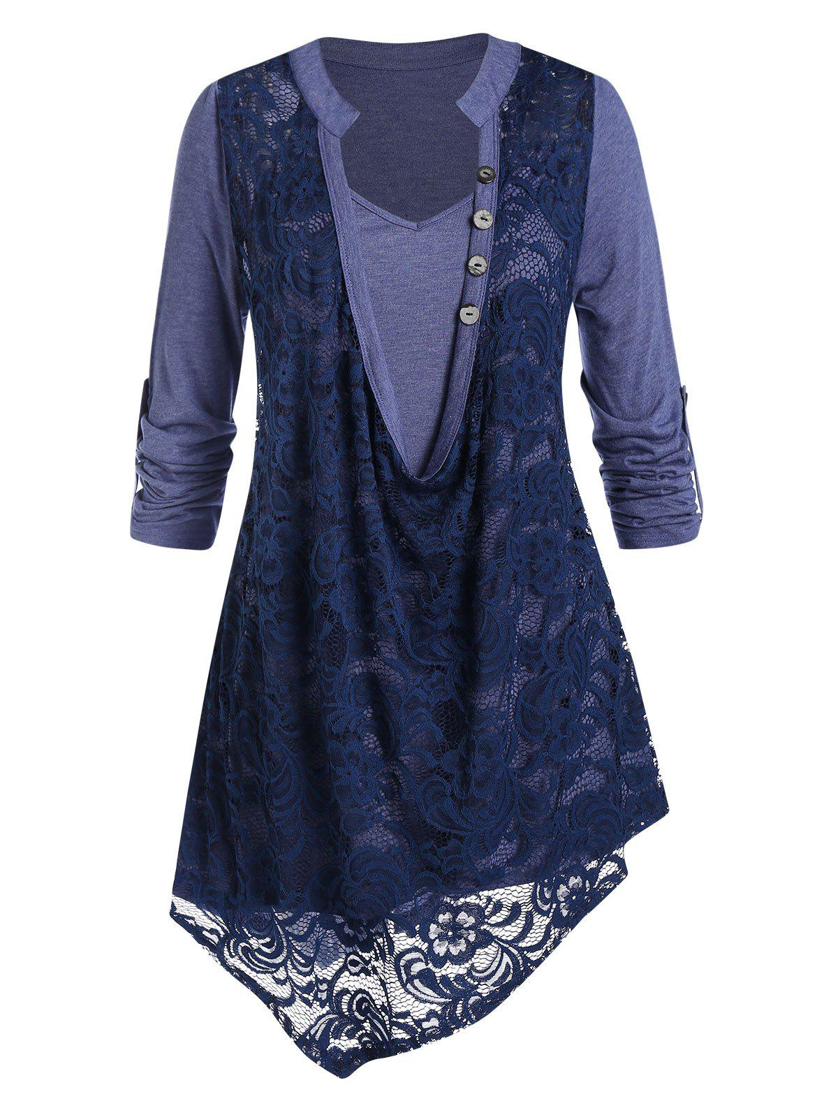 Plus Size 2 In 1 Floral Lace Irregular Blouse - DARK SLATE BLUE 2X