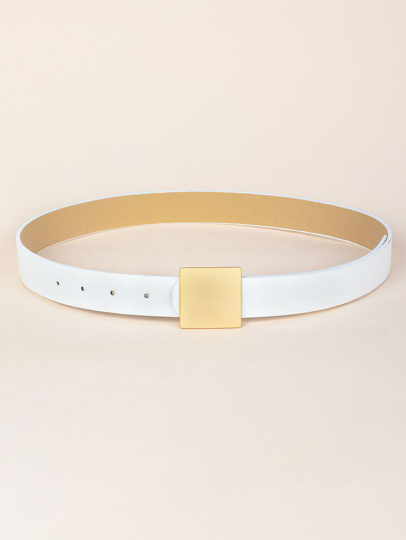 Square Buckle PU Leather Belt - WHITE