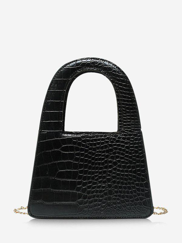 Brief Textured Crossbody Chain Handbag - BLACK