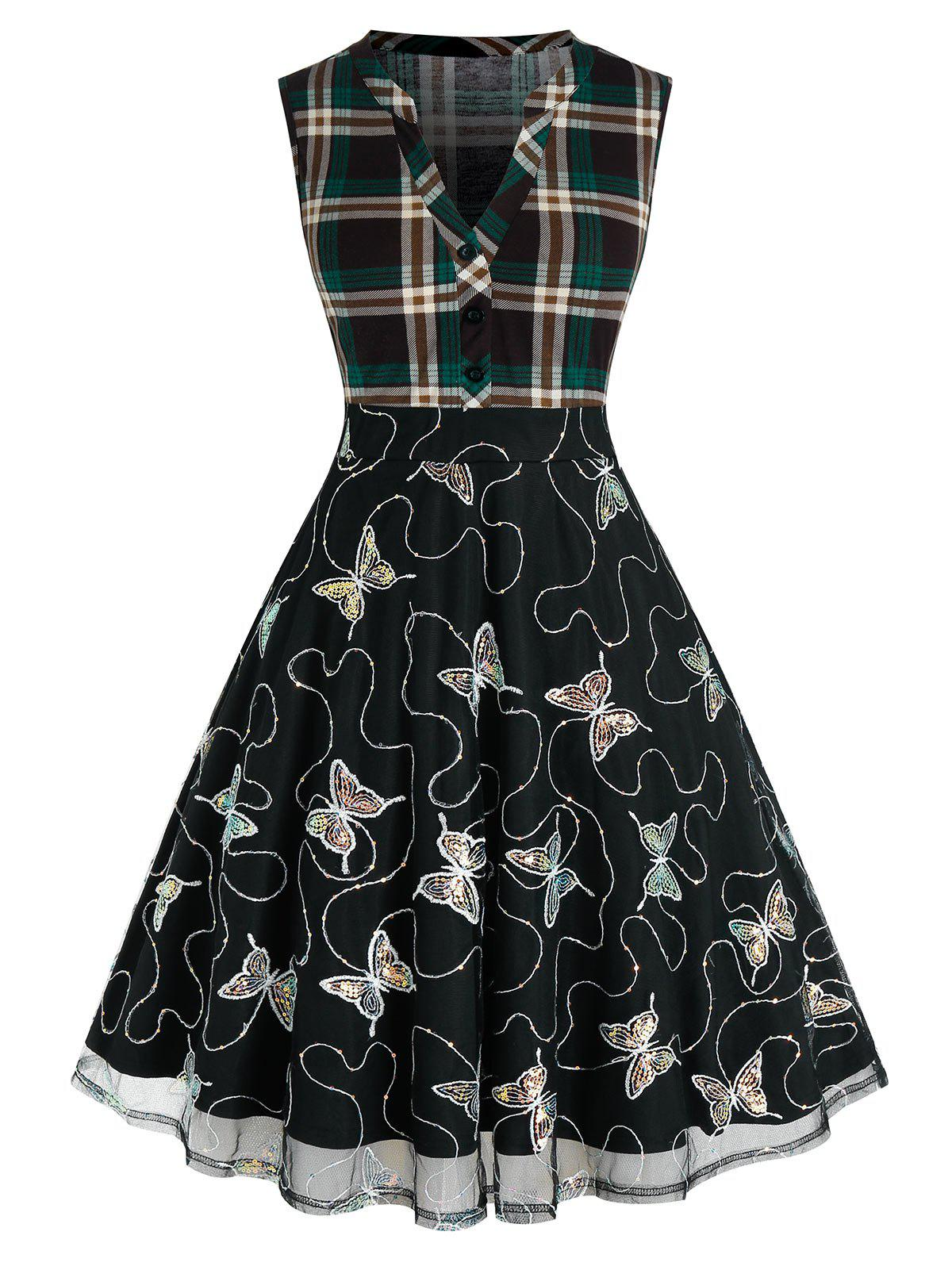Plus Size Sequined Butterfly Mesh Plaid A Line Dress - DARK FOREST GREEN 3X