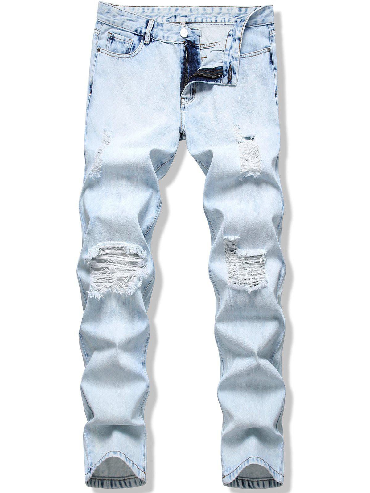 Destroy Wash Light Wash Long Jeans - LIGHT BLUE 34