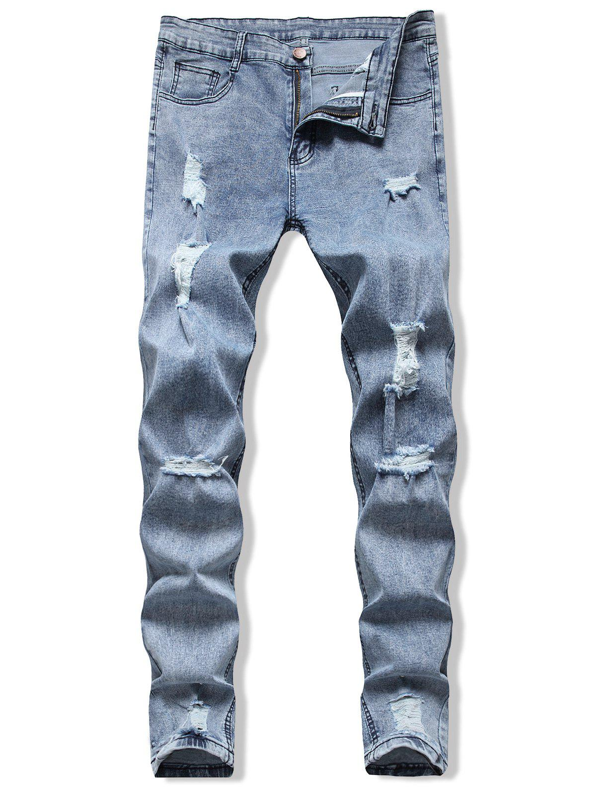 Destroy Wash Long Denim Jeans - SILK BLUE XL