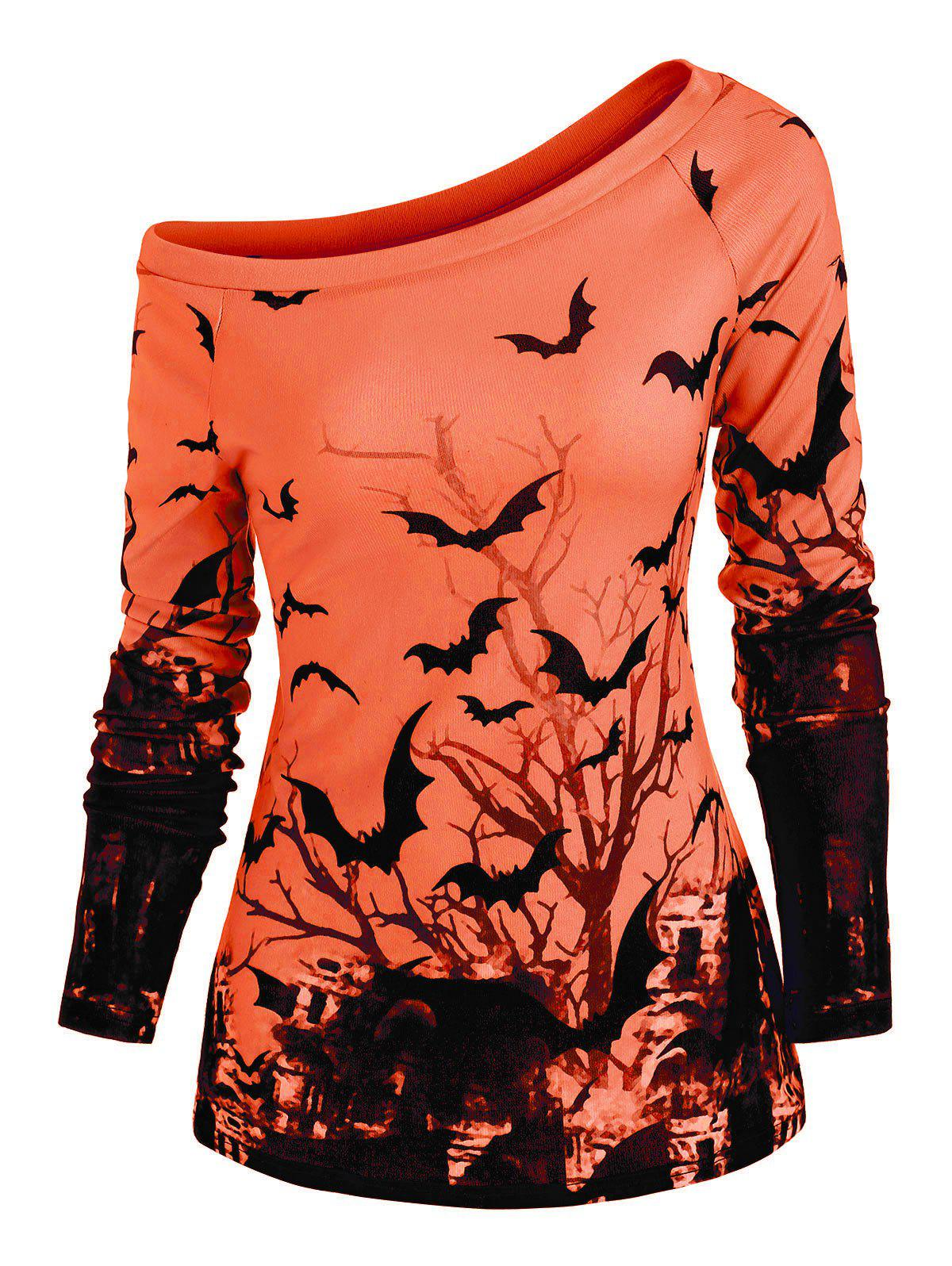 Tree Bat Print One Shoulder Ralgan Sleeve Knitwear - ORANGE 2XL