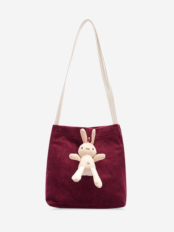 Cute Rabbit Corduroy Shoulder Bag - BURNT PINK
