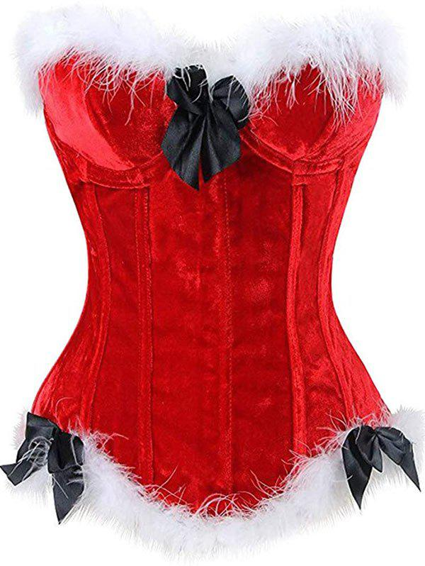 Faux Feather Velvet Bowknot Garter Slip Plus Size Corset - RED 2XL