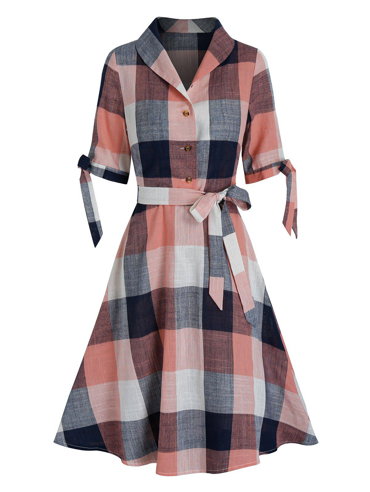 Plaid Printed Lace Up Sleeve Shirt Dress - ROSE M