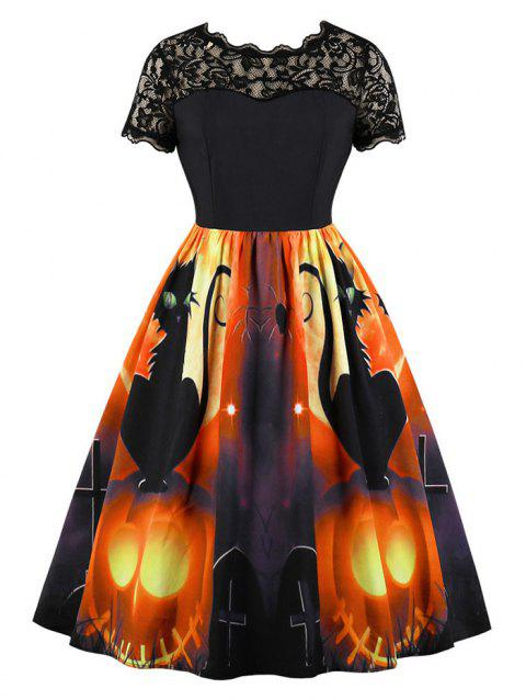 Pumpkin Spider Print Halloween Retro Dress with Lace
