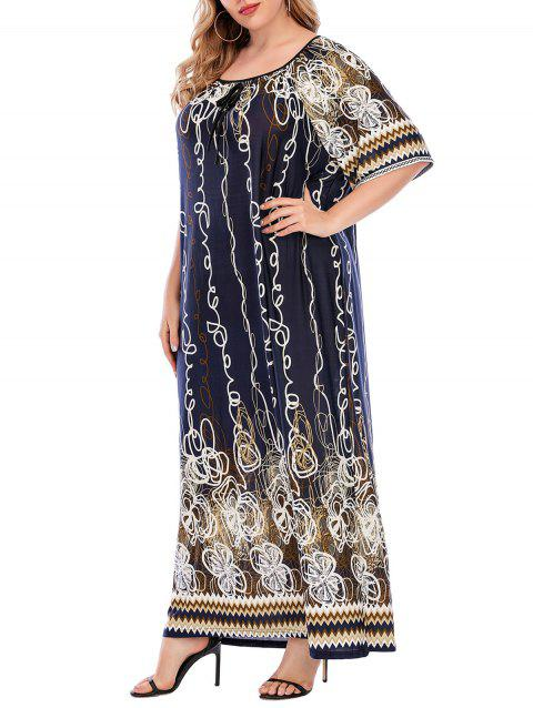 Plus Size Abstract Print Raglan Sleeve Maxi Dress
