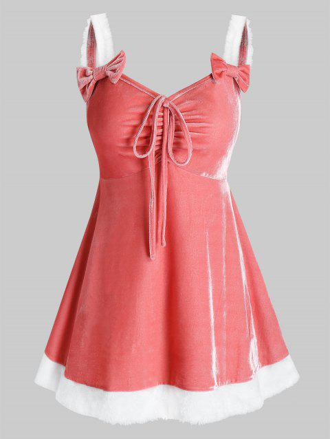 Plus Size Velvet Bowknot Tie Backless Dress with G-string