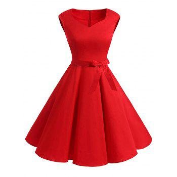 Plus Size Vintage Belted Fit and Flare Dress
