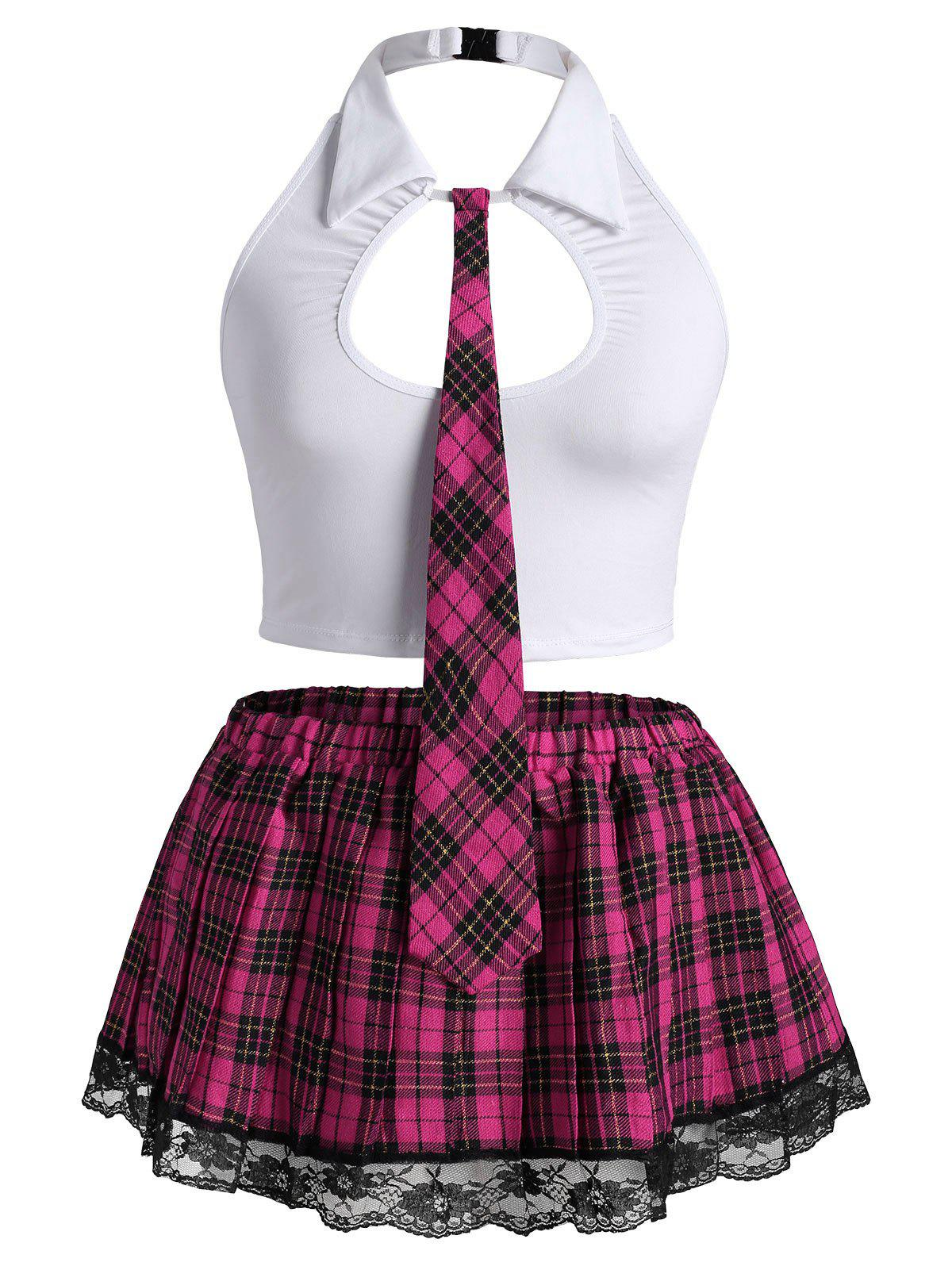 Plus Size Plaid Cutout School Girl Costume Set - WHITE 4XL