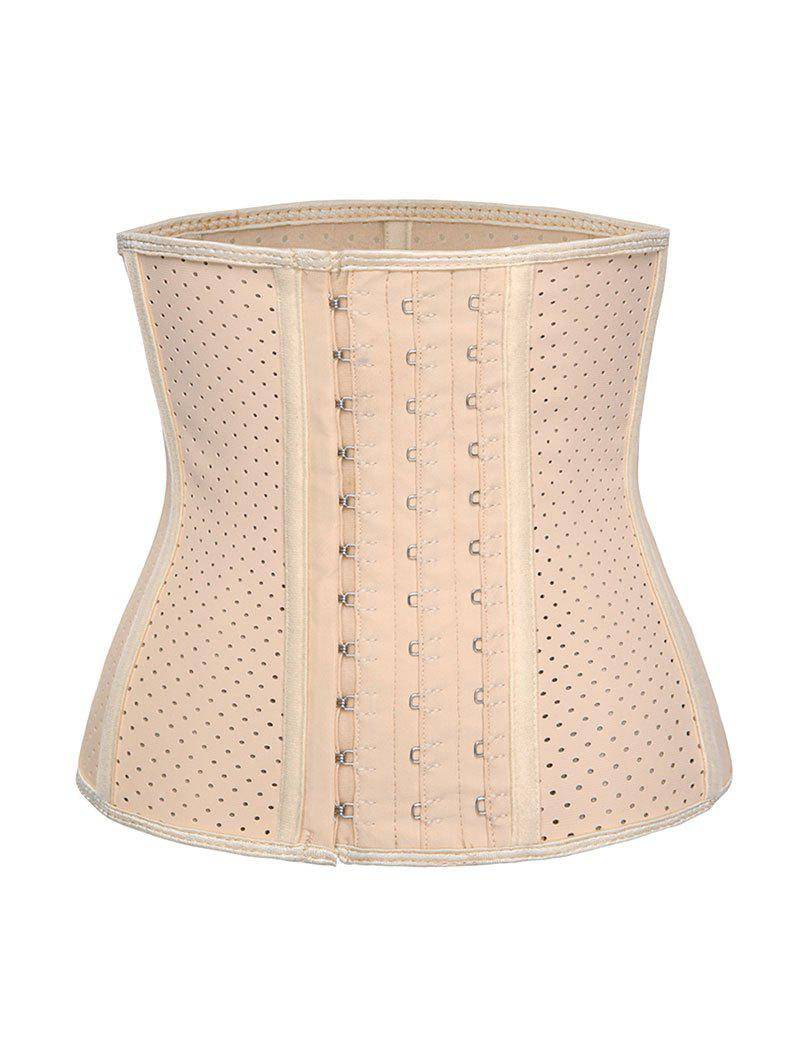 Piping Breathable Rubber Shapewear Plus Size Corset - LIGHT COFFEE XXXL