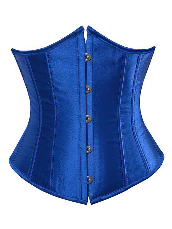 Satin Lace Up Shapewear Plus Size Corset - BLUE M