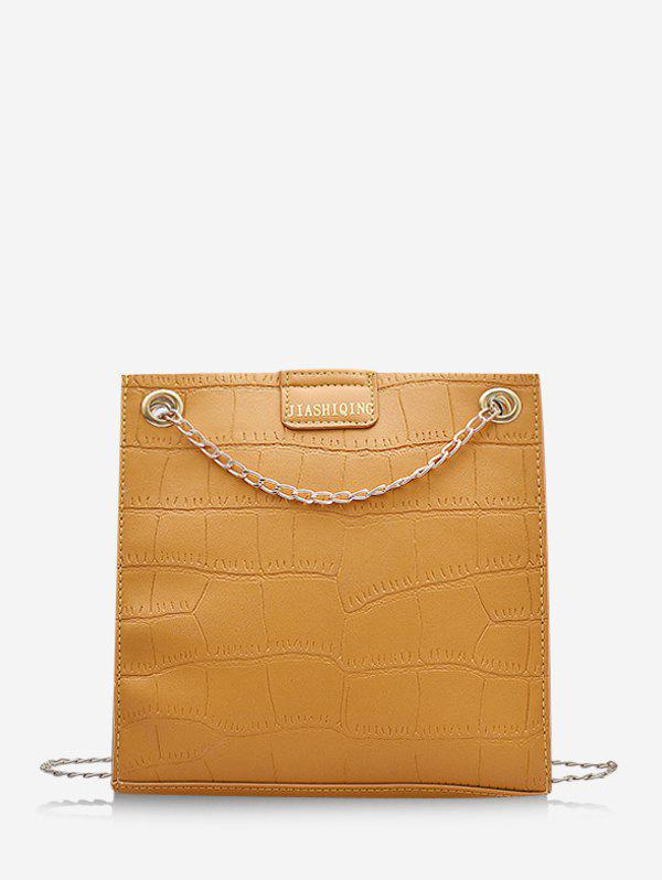 Animal Embossed Adjustable Chain Shoulder Bag - SUN YELLOW