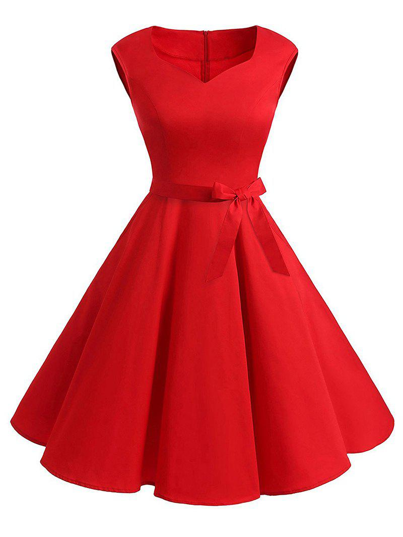 Plus Size Vintage Belted Fit and Flare Dress - RED 3XL