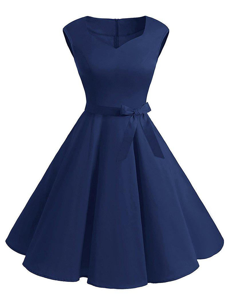 Plus Size Vintage Belted Fit and Flare Dress - DEEP BLUE L