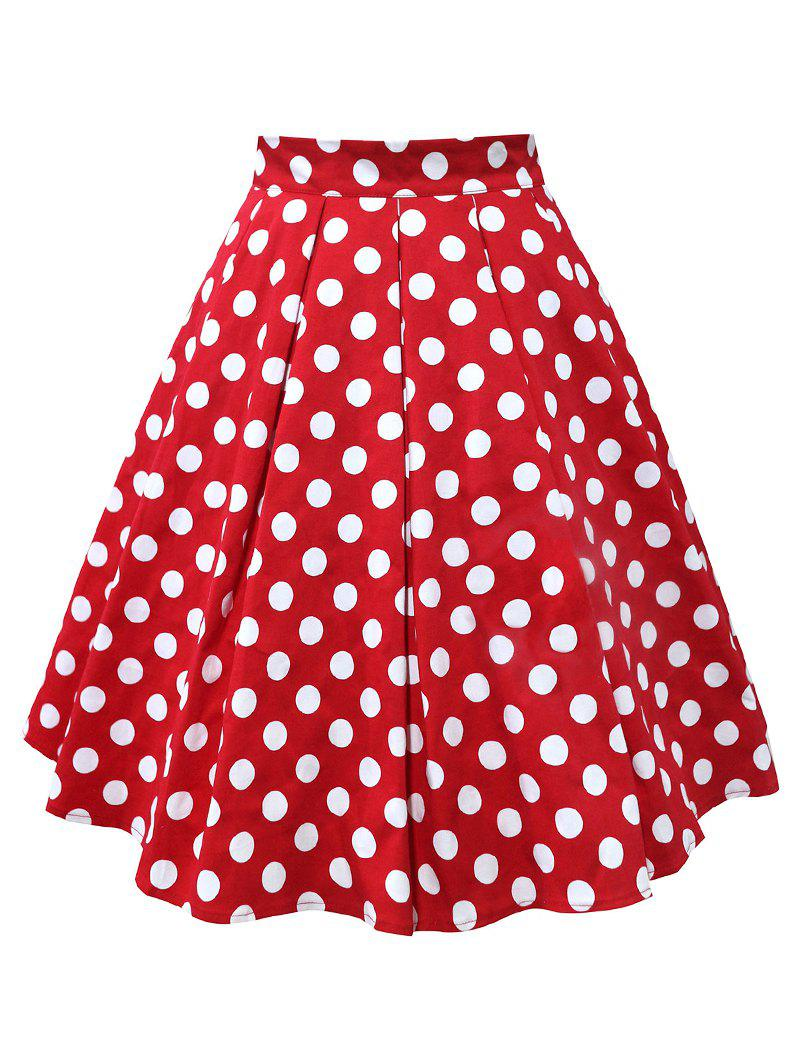 Plus Size Polka Dot Flare Skirt - RED 4XL