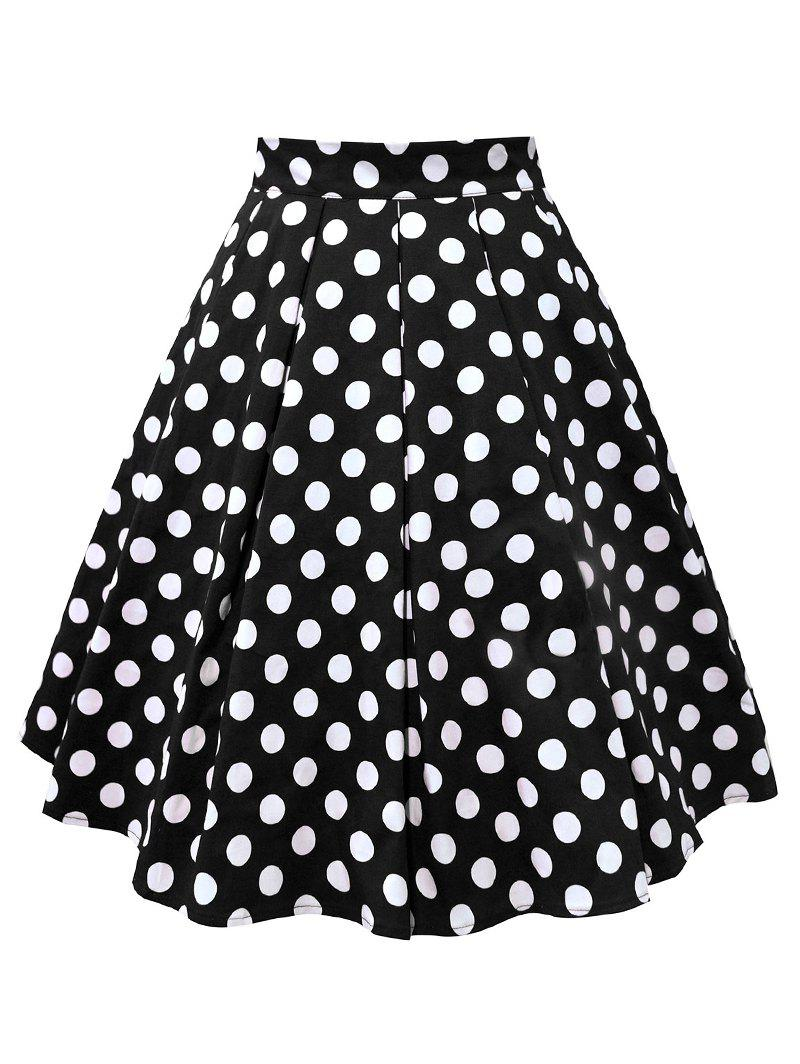 Plus Size Polka Dot Flare Skirt - BLACK XL