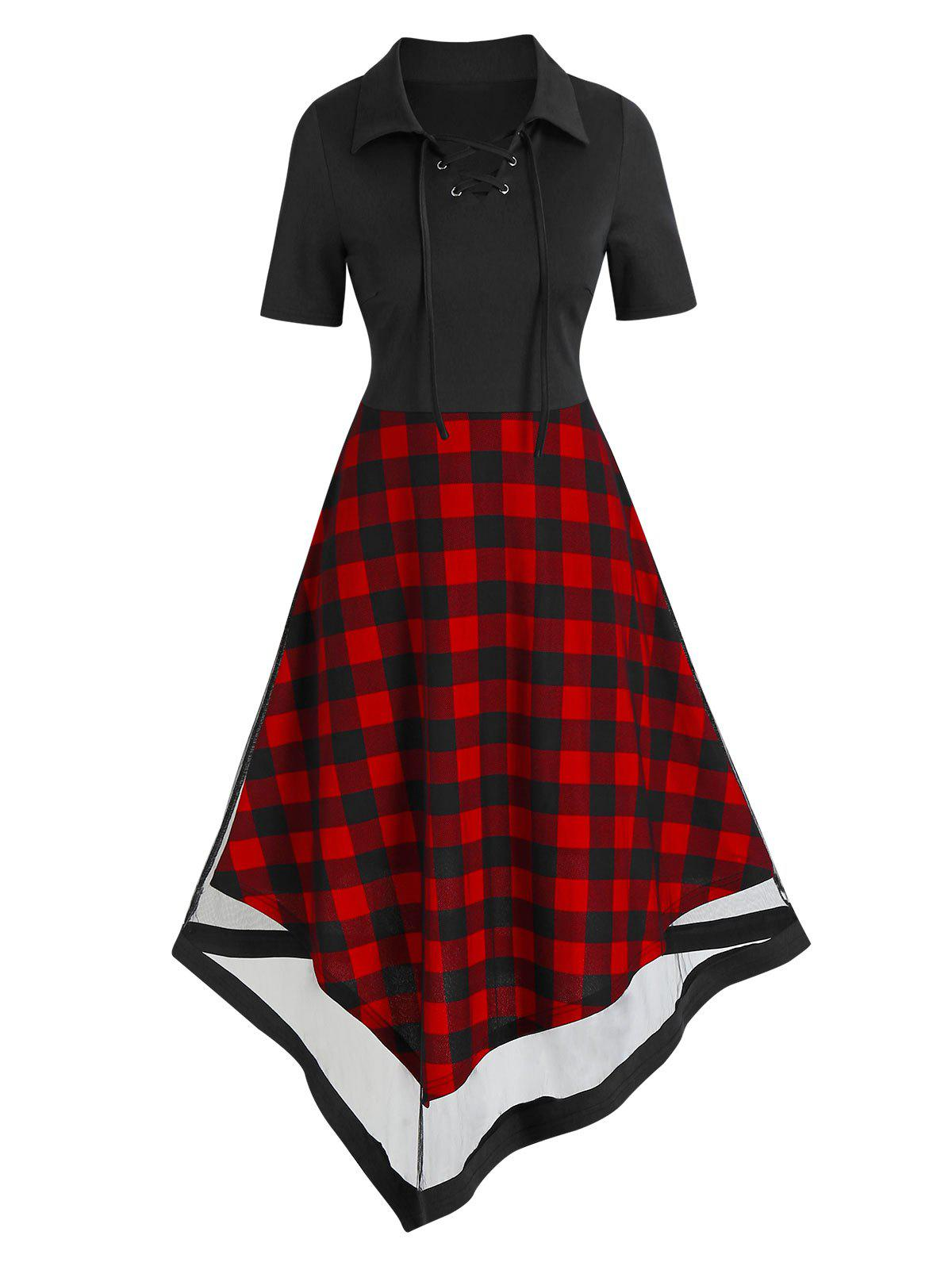 Tartan Print Lace Up High Waist Asymmetric Dress - BLACK M