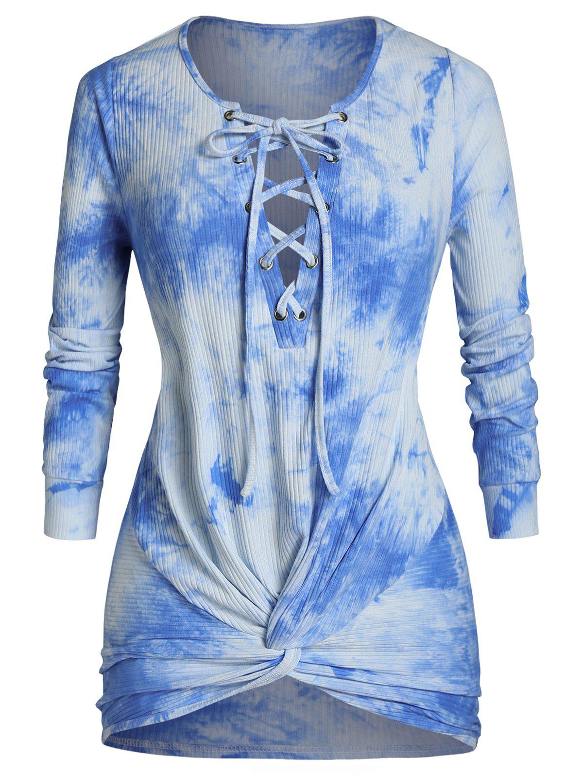 Plus Size Lace Up Tie Dye Front Twist Knitwear - DODGER BLUE 1X