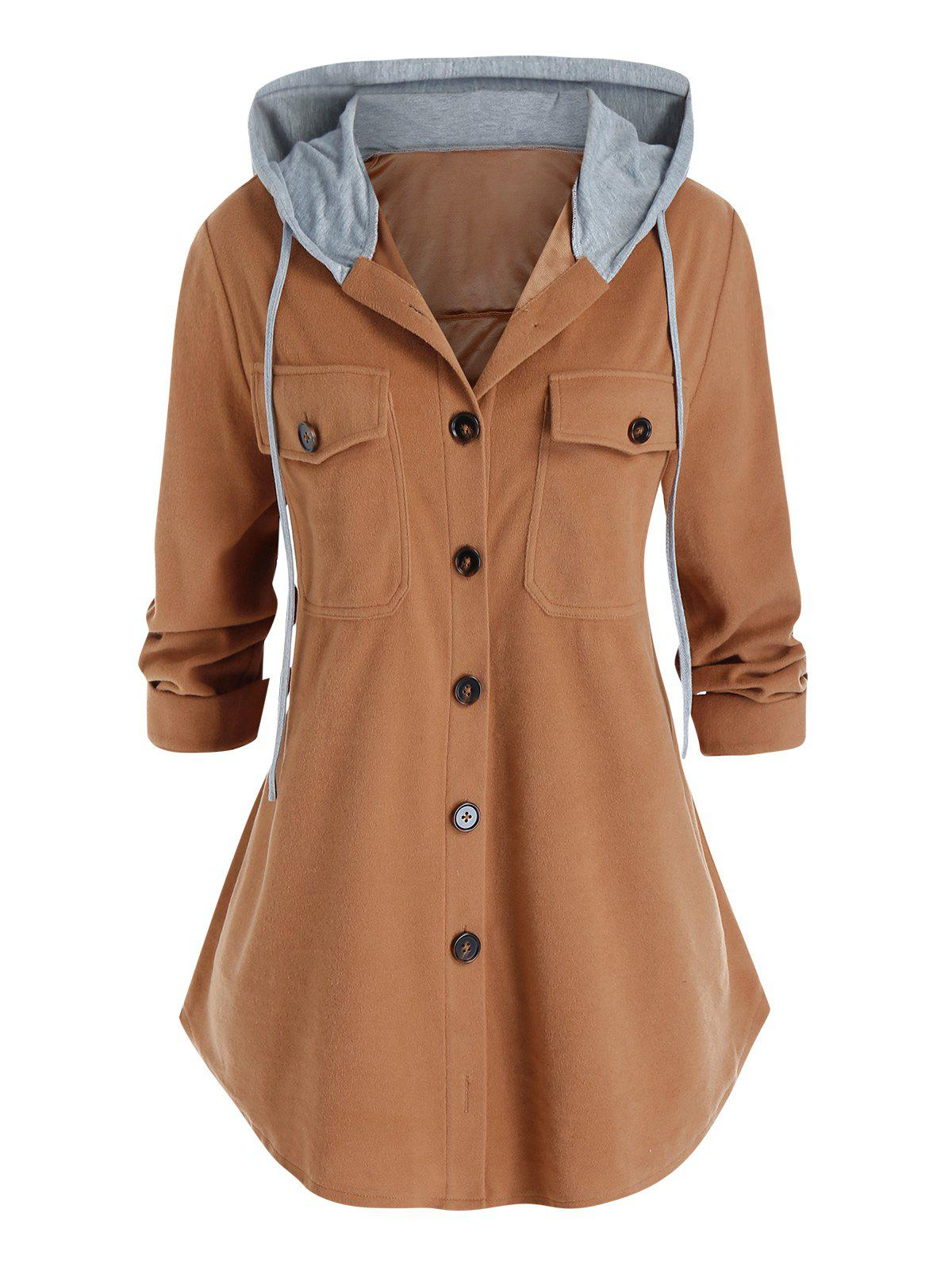 Plus Size Hooded Flap Pocket Single Breasted Coat - COFFEE L