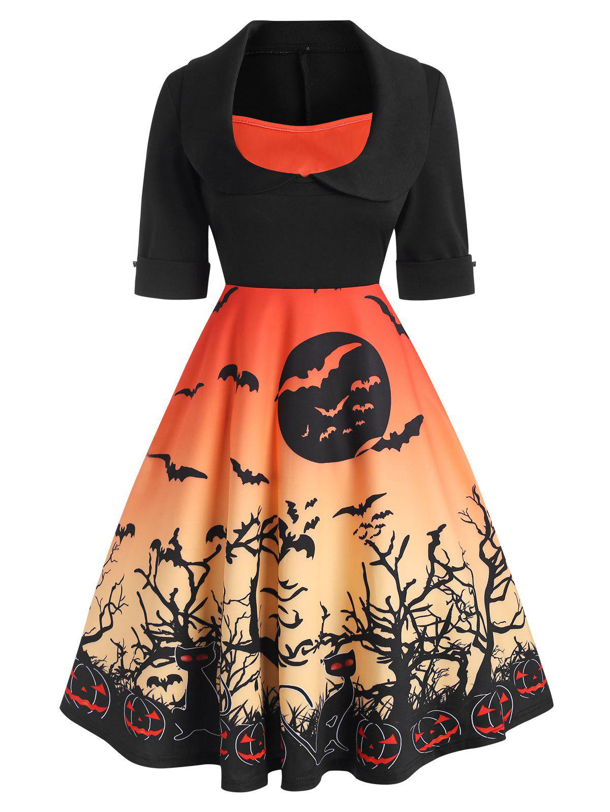 Halloween Cuffed Pumpkin Bat Print Collared Dress - HALLOWEEN ORANGE L