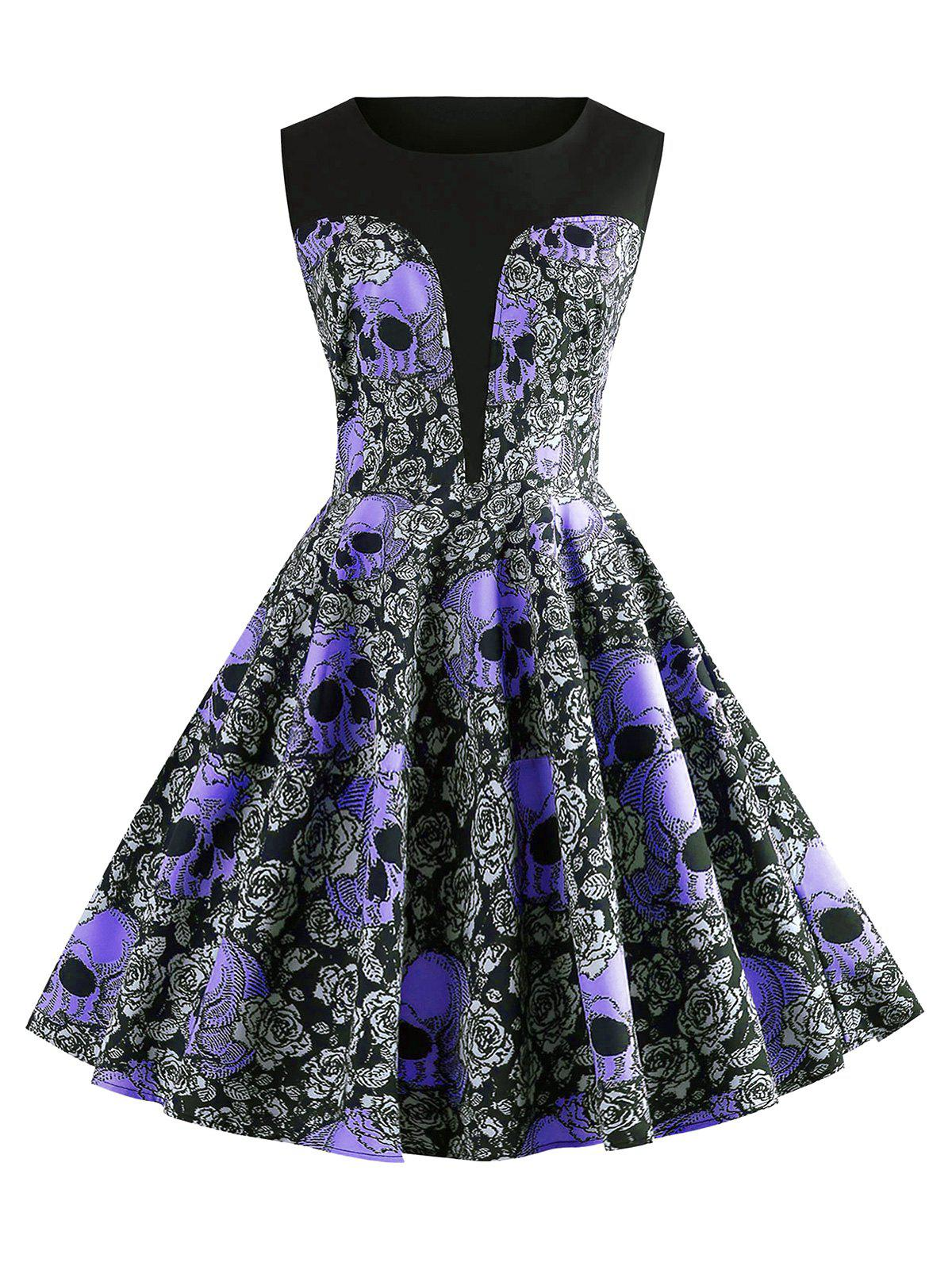 Halloween Skulls Flower Fit and Flare Vintage Dress - PURPLE L