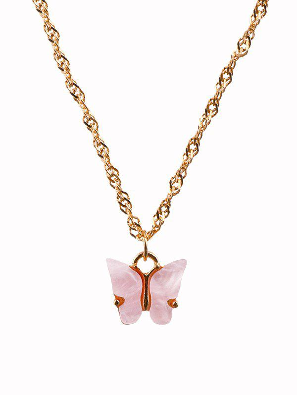 Acrylic Butterfly Charm Chain Necklace - LIGHT PINK