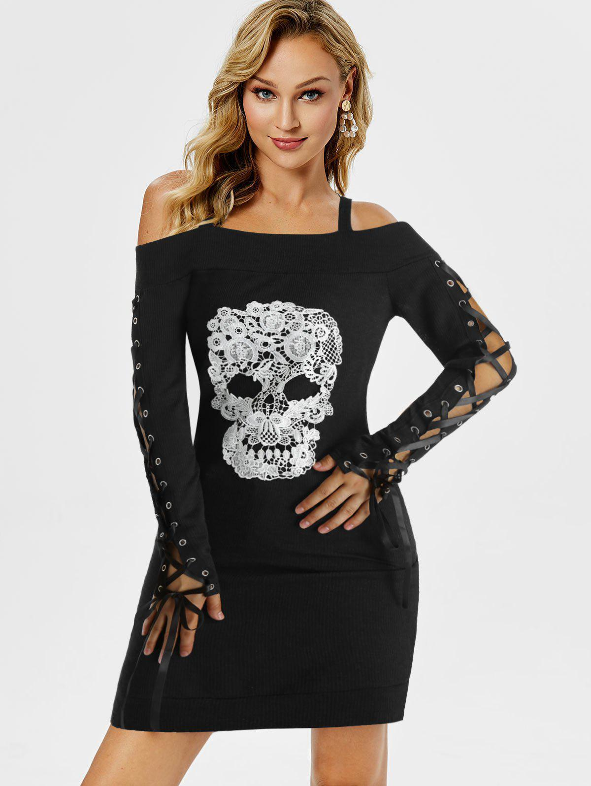 Gothic Skull Embroidery Lace Up Sleeve Dress - BLACK XL