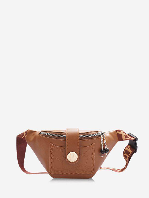 Casual Beads Letter Pattern Strap Waist Bag - BROWN