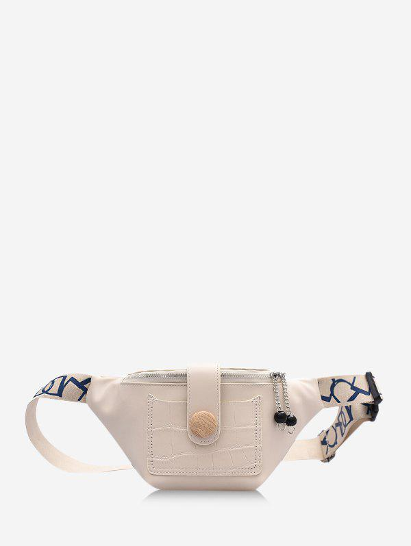 Casual Beads Letter Pattern Strap Waist Bag - BEIGE