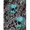 Halloween Skulls Flower Fit and Flare Vintage Dress - MEDIUM TURQUOISE L