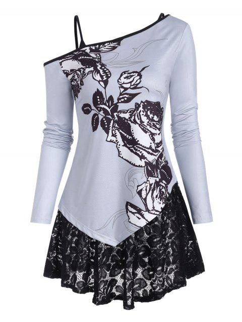 Skew Collar Floral Top and Lace Camisole