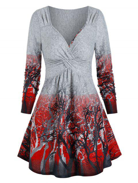 Long Sleeve Trees Print Twist Front Dress