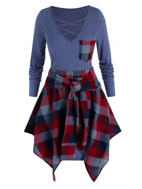 Plus Size Lattice Tee Dress with Plaid Skirt Set