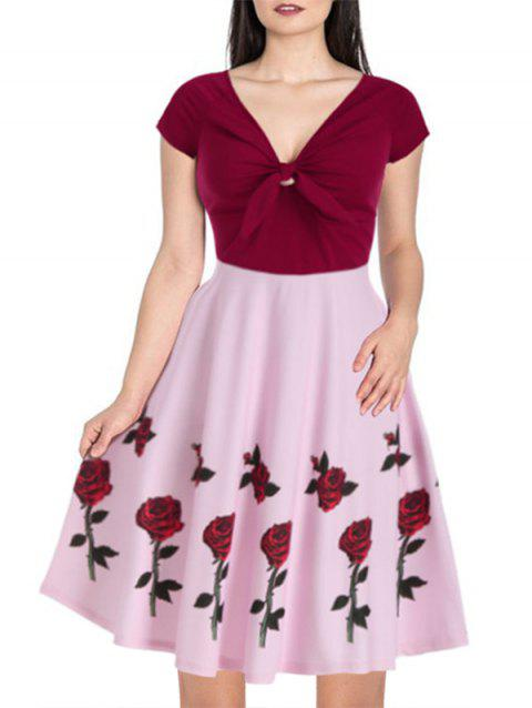 Raglan Sleeve Rose Flower Print Contrast Dress