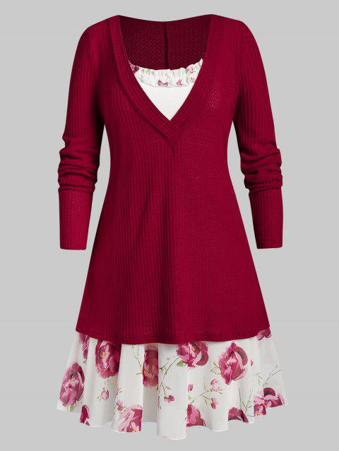 Plus Size Plunging Knitwear with Floral Print Ruffle Dress