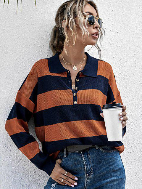 Two Tone Striped Half Button Sweater